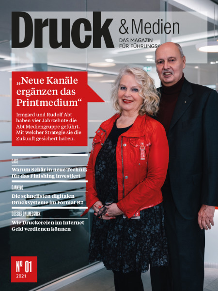 Druck & Medien, das Magazin für Führungskräfte Nr. 1/2021, Irmgard und Rudolf Abt