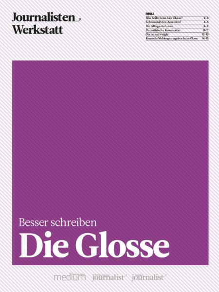 Besser schreiben: Die Glosse, Journalisten Werkstatt, Peter Linden