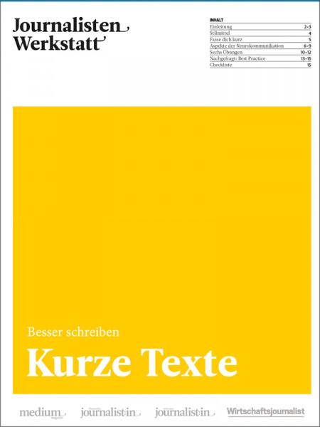 """Journalisten Werkstatt """"Besser schreiben"""": Kurze Texte"""