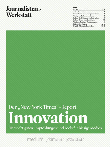 "Innovation: Der ""New York Times"" Report, Journalisten Werkstatt, Thomas Strothjohann, Annette Milz"
