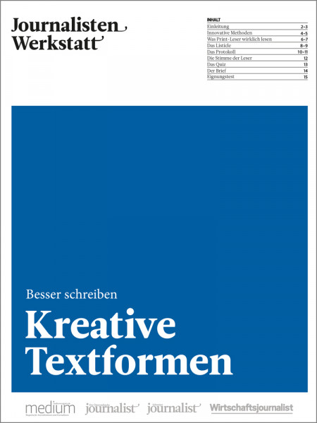 """Journalisten Werkstatt """"Besser schreiben"""": Kreative Textformen"""