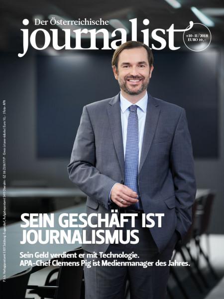 Der Österreichische Journalist: APA-Chef Clemens Pig ist Medienmanager des Jahres.