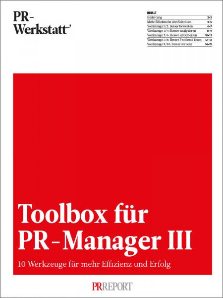 PR-Werkstatt, Toolbox für PR-Manager III